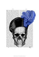 Skull with Blue Hat Framed Print