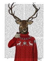 Deer in Ski Sweater Fine Art Print