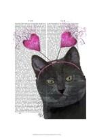 Black Cat Valentines Framed Print