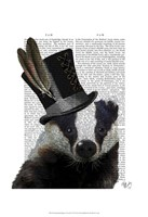 Steampunk Badger in Top Hat Fine Art Print