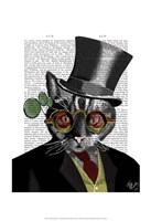 Steampunk Cat - Top Hat and red yellow glasses Fine Art Print