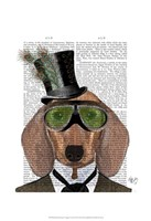 Dachshund Green Goggles Top Hat Framed Print