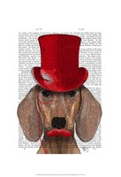Dachshund With Red Top Hat and Moustache Fine Art Print