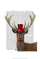 Deer with Red Top Hat and Moustache Fine Art Print