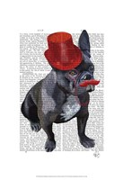 French Bulldog With Red Top Hat and Moustache Fine Art Print