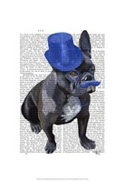 French Bulldog With Blue Top Hat and Moustache Fine Art Print