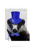 Badger with Blue Top Hat and Moustache Fine Art Print
