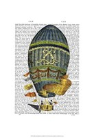Blue Cylindrical Hot Air Balloon Framed Print