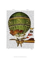 Hot Air Balloon Green Framed Print