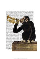 Monkey Playing Trumpet Fine Art Print