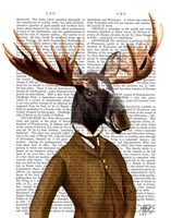 Moose In Suit Portrait Framed Print