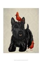 Scottie Dog and Red Birds Fine Art Print
