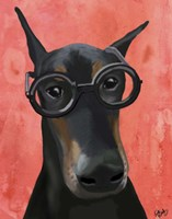 Doberman With Glasses Fine Art Print