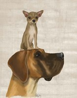 Great Dane and Chihuahua Fine Art Print