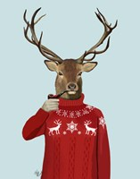 Deer in Ski Sweater Framed Print