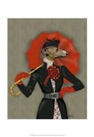 Elegant Greyhound and Red Umbrella Fine Art Print