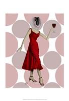 Monkey in Red Dress with wine Fine Art Print
