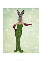 Rabbit Green Dress Framed Print