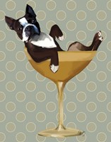 Boston Terrier in Cocktail Glass Fine Art Print