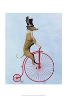 Greyhound on Red Penny Farthing Fine Art Print