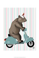 Rhino on Moped Framed Print