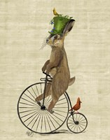 March Hare on Penny Farthing Framed Print