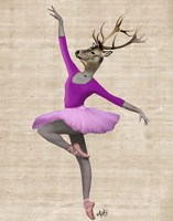 Ballet Deer in Pink II Framed Print