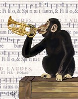 Monkey Playing Trumpet Framed Print