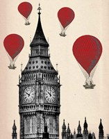 Big Ben and Red Hot Air Balloons Framed Print