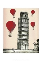Tower of Pisa and Red Hot Air Balloons Fine Art Print
