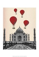 Taj Mahal and Red Hot Air Balloons Fine Art Print