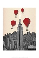 Empire State Building and Red Hot Air Balloons Framed Print