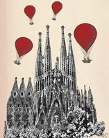Sagrada Familia and Red Hot Air Balloons Framed Print