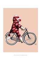 Sock Monkey on Bicycle Fine Art Print