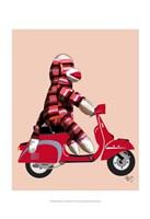 Sock Monkey on Red Moped Framed Print