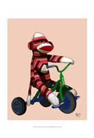 Sock Monkey Tricycle Framed Print