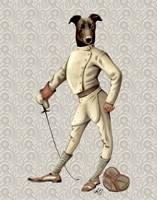 Greyhound Fencer in Cream Full Fine Art Print