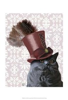 Grey Cat With Steampunk Top Hat Fine Art Print
