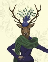Deer and Fascinator Framed Print