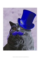 Grey Cat With Blue Top Hat and Moustache Fine Art Print