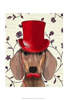 Dachshund With Red Top Hat Fine Art Print