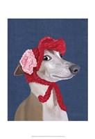 Greyhound with Red Woolly Hat Fine Art Print