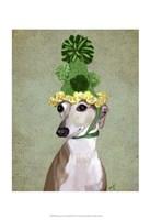 Greyhound in Green Knitted Hat Fine Art Print