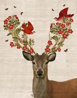 Deer and Love Birds Fine Art Print