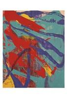 Abstract Painting, c. 1982 (aqua, red, indigo, yellow) Fine Art Print