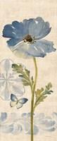 Watercolor Poppies Blue Panel II Framed Print
