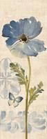 Watercolor Poppies Blue Panel II Fine Art Print