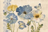 Watercolor Poppies Blue Landscape Fine Art Print