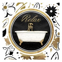 Relax Gold Floral Bath Framed Print