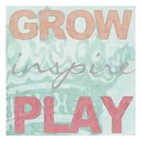 Grow Inspire Play Aqua Fine Art Print